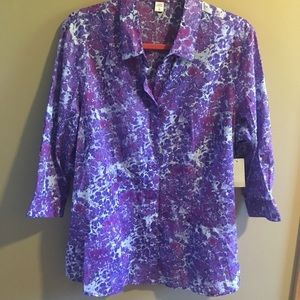 NWT Coldwater Creek Watercolors Perfect Buttondown